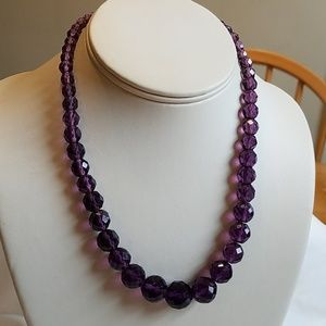 Vintage Purple Crystal Faceted Glass Bead Neckace